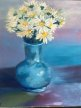"""Blue Vase with Daisies 20"""" x 16"""" Oil on canvas"""